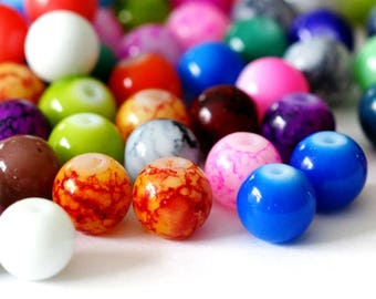 48pcs 8mm Mix Color Glass Beads GB8MMY