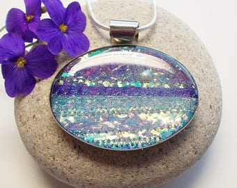 Seascape Full Moon Oval Pendant Necklace