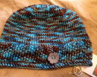 Children's knit hat, cute design and pretty blue, brown, grey striped yarn, 100% acrylic