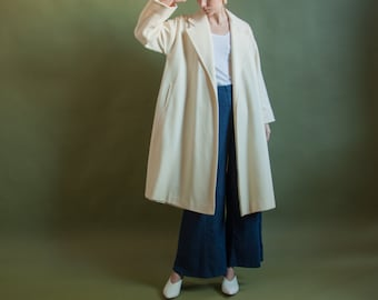 cream wool swing coat / oversized overcoat / minimalist wrap coat / s / m / 2092o / R4