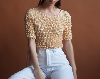 butter cream micropleat popcorn top / simple crinkled top / minimalist top / s / m / 2078t / B18