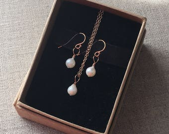 Akoya Saltwater Pearl Rose Gold Earring And Necklace Jewellery Set. Saltwater 14k Rose Gold Filled Gift Set. Wedding Jewellery. Gift For Her