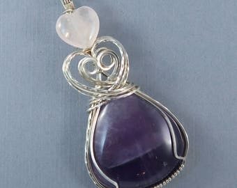 Triple Heart Large Amethyst, Rose Quartz and Sterling Silver Wire Wrapped Gemstone Pendant
