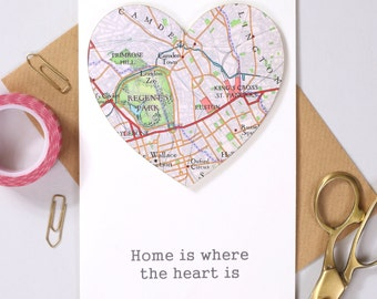 Personalised map heart - new home greeting card - map card - map heart card - new home card - new house -first home gift - moving card