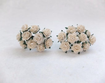 20 off white mulberry paper rose (15mm) - 1.5 cm off white paper flowers