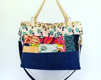 Quilted Tote w/ denim