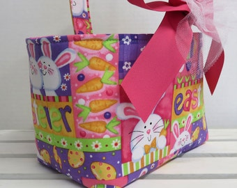 READY TO SHIP - Fabric Easter Basket Candy Bucket Bin Storage Container - Bunnies and Eggs - Fun Easter Fabric
