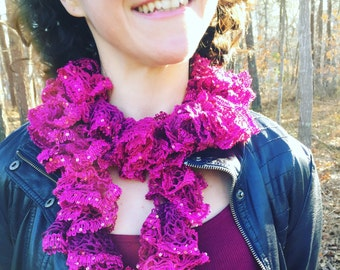 The Barbie - Handknit Pink and Sparkle Ruffle Fashion Scarf