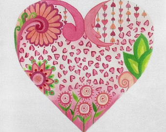 Handpainted Needlepoint Canvas Large Heart