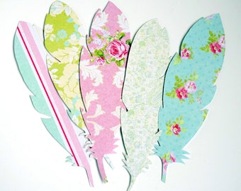 Paper feathers: hand-made supplies/ craft embellishment or romantic Spring Summer wedding/ party decor. Pastel pink green turquoise
