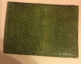 Burgundy or Olive Green Authentic Snakeskin Medium Bifold Wallet