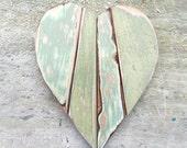 Wood Wall Heart, Sea Foam Heart, Reclaimed Wood Heart, Nursery Decor, Boho Room Decor, Chippy Heart. Rustic Heart, Mosaic Heart