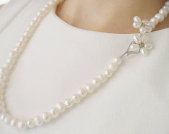 Couture Bridal Jewelry Bridal Necklace Long Pearl Necklace Statement Necklace Wedding Necklace Pearl Necklace Pearl Jewelry Wedding Jewelry