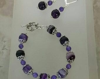 Amethyst and Agate Bracelet Set