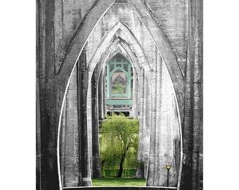 Cathedral Park St. Johns Bridge Canvas on Panel