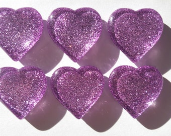 Lavender Glitter Glass Heart Magnets. Light Purple Strong Magnet Set of 6 Heart Magnets - Kitchen Decor. Office Decor. Party Favors. Gifts