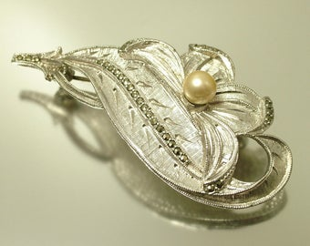 Vintage/ estate 1950s designer signed Sphinx, chrome plated and marcasite flower costume brooch / pin - jewellery jewelry