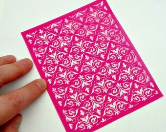 Damask2 Silkscreen for Polymer clay, or flat surfaces such as metal, Paper Crafts