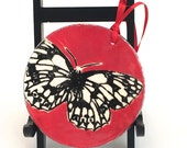 Christmas Ornament Ceramic Stoneware Marbled White Butterfly Stocking Stuffer Made to Order OR0004