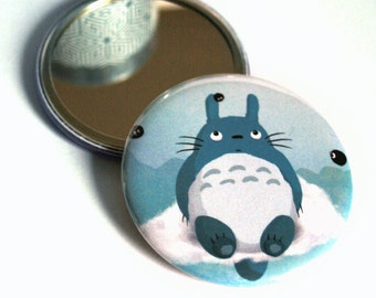 Totoro pocket mirror - Ghibli fanart - Round illustrated mirror