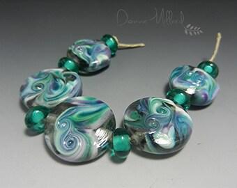 SRA HANDMADE LAMPWORK Glass Bead Set Donna Millard purple teal aqua purple statement jewelry her necklace earrings