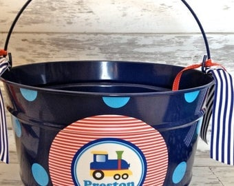 ON SALE custom personalized 16 QUART name Easter bucket featuring a train
