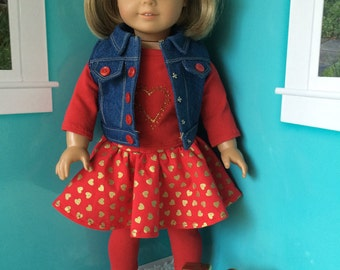 18 inch Doll Clothes - Valentines Outfit - Skirt - Shirt - Leggings - Vest - Hearts