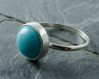 Turquoise Stacking Ring. Turquoise Cabochon. Stacking Ring. Sterling Silver Ring. Size 7 Ring. December Birthstone. Birthstone Jewelry