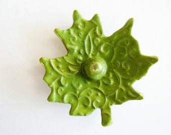Ceramic Ring Catcher Leaf - Lovely Texture Ceramic Dish - Bright Green