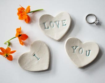 I love you / Wee Clay Hearts for Gifting or Decoration / Fun Set of 3 Hearts - ready to ship