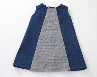 Navy Ruffle Inset Snap Back Little Girls' Dress  - Size 4T - A-line Sleeveless Dress with Gray Ruffle Inset