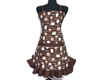 Coffee Shop Apron for women, Barista apron with ruffles, Adjustable with pocket, Flirty Girls apron, Chocolate