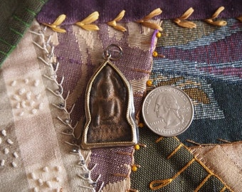 Sandstone and Metal Buddha Amulet Focal Point Arch Pendant ADMA408