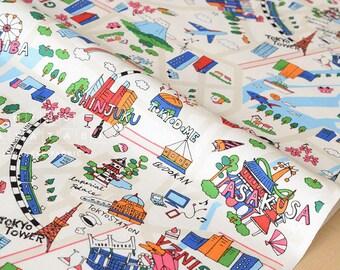 Japanese Fabric Yuwa Tokyo - multi - 50cm