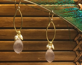 Rose Quartz and Freshwater Pearl Dangles