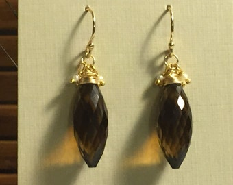 Whiskey Quartz, Seed Pearl and Gold Dangle Earrings