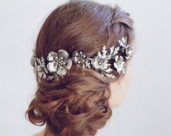 Bridal headband - Antiqued oak leaves and flower headpiece - Style 760 - Made to Order