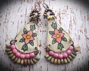 Tin Earrings, Vintage Tin Tray, Bohemian Gypsy Dangle Earrings, Beaded Dangle Earrings
