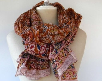 Soft Indian print scarf, Cotton Ethnic Vintage Scarf, Dupatta scarf, cover up scarf, large shoulder shawl, woman scarf beach cover up vtg