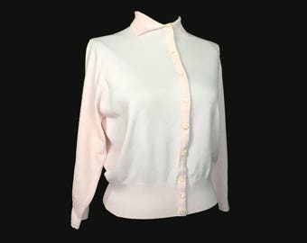 Vintage Women's Cardigan, 1950's, Pink, Orlon, Collar, Shell buttons, Small