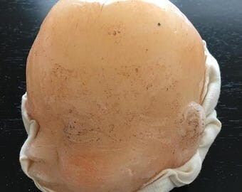 Wax Baby Face from Museum Mounted on Fabric - Vintage Medical Oddity Curiosity Death Mask - #3
