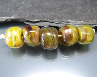 Handmade Lampwork Beads by GlassBeadArt  ... Earthy Sparkle ... SRA F12 nugget beads natural colors Doublehelix glass