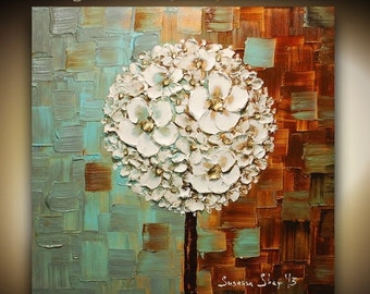 ORIGINAL White Blossoms Lollipop Tree Abstract Contemporary Oil Painting Thick Texture Gallery Fine Art Susanna Ready2Hang 24x24 Made2Order