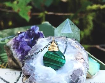 F o r e s t... Malachite necklace, heart chakra, calming, peace, boho, mixed metal, earth element, oxidized sterling FREE SHIPPING