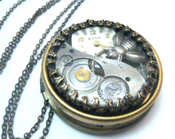 Bee  Under Glass Locket ... Steampunk Victorian Bee Locket One of a Kind