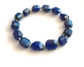 Little Luxe Simple Stacking Stretch Bracelet in Lapis Nuggets and Vermeil...