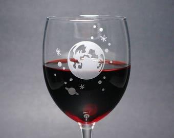 Full Moon and Stars Wine Glass