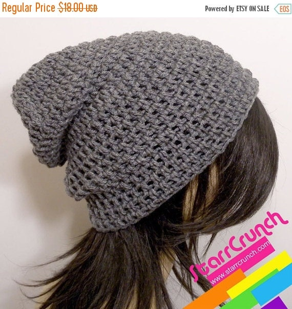 ReOpening Sale 25% Off Slouchy Beanie Crochet Hat in Heather Grey