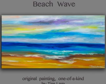 Original abstract painting Sea art Sunrise Beach Wave on gallery wrap canvas oil painting home art by tim Lam 48x24