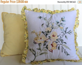BIG SALE - Pair of Pillows - Yellow Check and Rose Bouquet - Botanical - Cottage Chic - Embroidery - Ruffle Edge